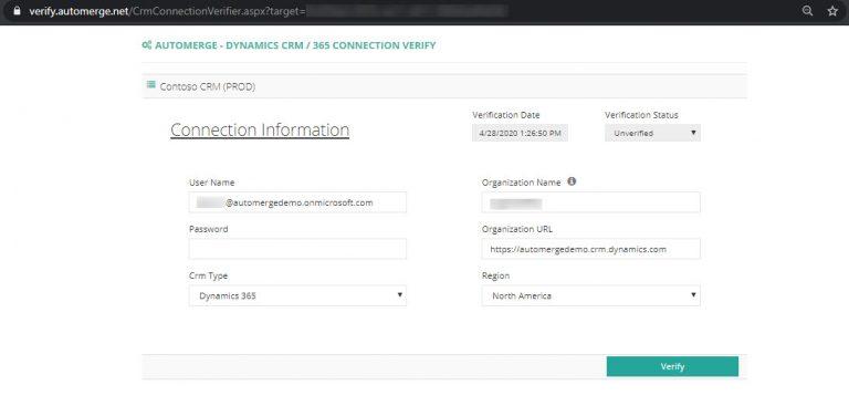CRM Connection Verification Form