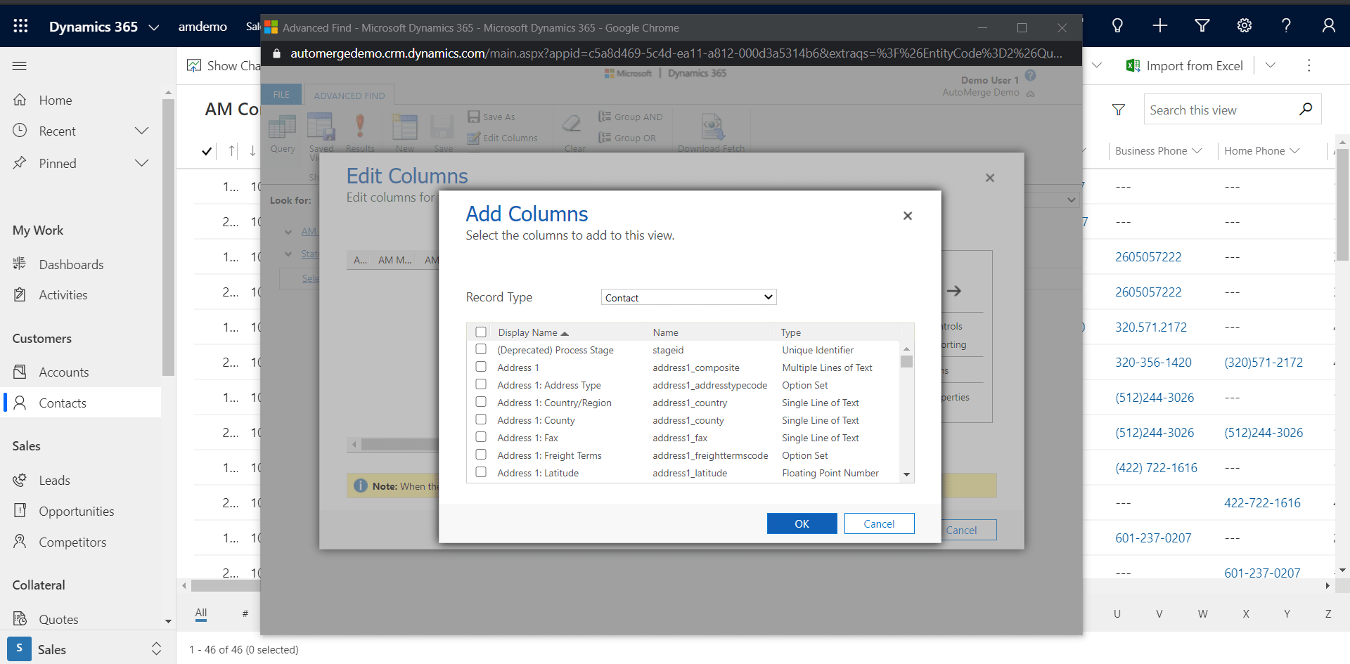 Adding Columns in Advanced Find field