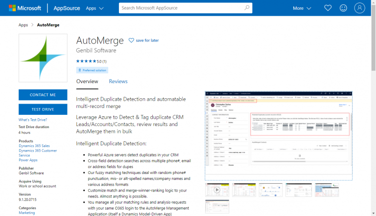 AppSource AutoMerge Page Screenshot