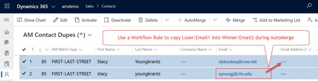 Field Preservation Values On Loser Copy Via Workflow Rule