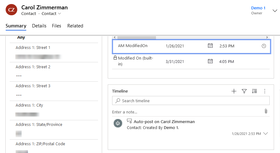 CRM Contact Form with am_automergemodifiedon highlighted
