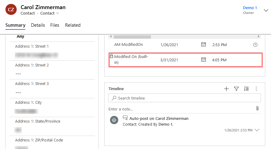 CRM Contact Form with modifiedon highlighted